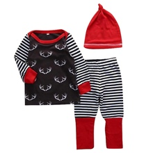 2017 Winter Newborn Infant Baby Boys Girls Antlers Printing Tops T-Shirt Long Pants And Hat Outfits Set Xmas Clothes zero~2 Y