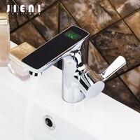 JIENI Black Digital Display Temperature Sensor Bathroom Chrome Brass Deck Mount Wash Basin Mixer Sink Vessel Tap Mixer Faucet