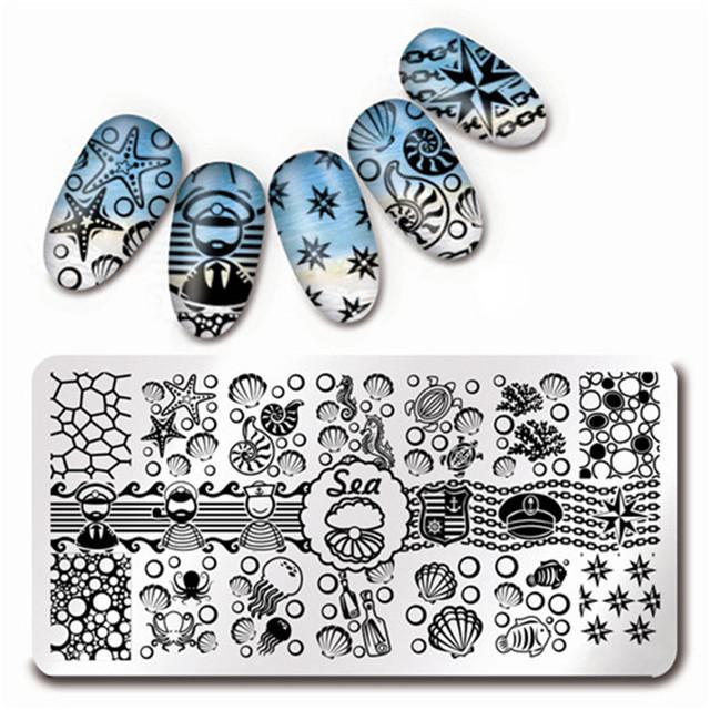 12*6 cm Nail Art Sello Plantilla de Diseño Placa de la Imagen de Shell Del Mar Starfish L012