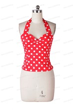 0097-wholesale 1950s rockabilly Vintage women Summer Spring New Fashion polka dots camis casual top plus size UK8-24