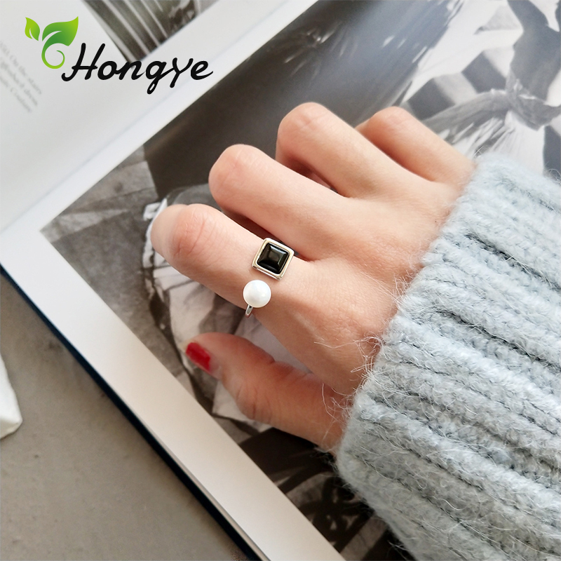 Hongye Female Finger Jewelry Ring For Girls Original Brand Simple Korean Jewelry Silver 925 Pearl Rings Adjustable Black Agate