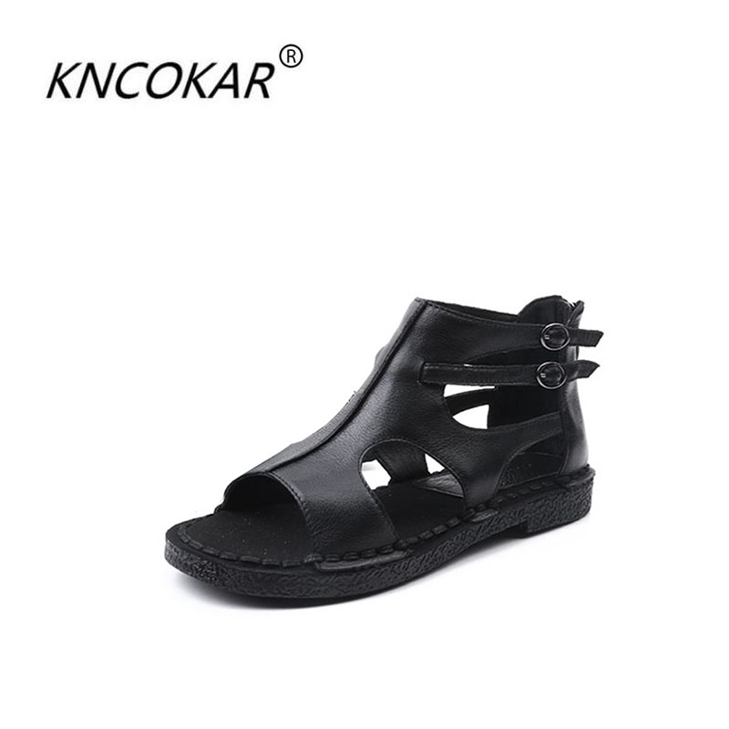 Ayakk.'ten Kadın Sandaletleri'de Yeni yüksek kalite Ulusal rüzgar orijinal marka kadın sandalet el yapımı deri sandalet f kadın deri sandalet boyutu 35 40'da  Grup 1