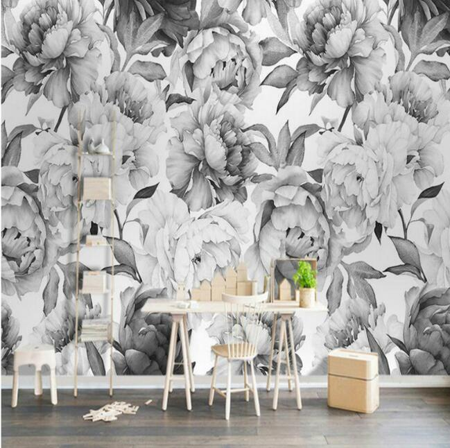 Nordic Black And White Peony Flower 3D Wallpapers For Walls 3d Wall Paper Vintage Decorative Painting Backdrop Home Improvement