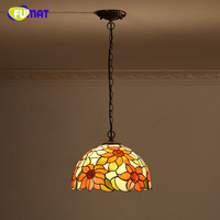 FUMAT Stained Glass Pendant Light Brief Yellow Sun Flower Glass Shade Kitchen Living Room Dining Room LED Bedside Pendant Lights