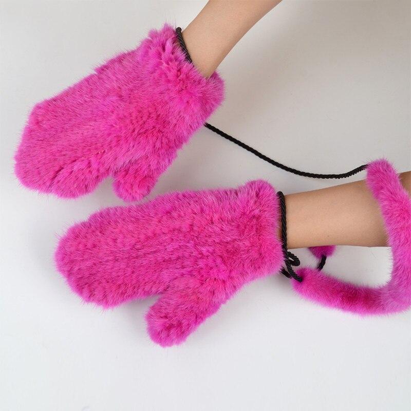 NGSG hiver femmes vison fourrure gants rose véritable épais vison gants mitaines russe solide femelle chaud adulte en cuir gant EA4050-26 - 4