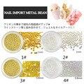 2pot /lot Gold Silver Beads Metal Balls Gem Pot Round Wedding Nail Art Craft