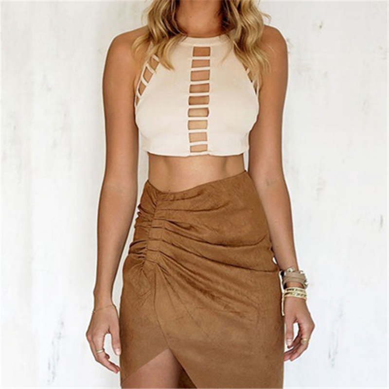 Camisoles Tanks Crop Top Sexy Hollow Out Hole Short Tops Sheath Party Camis Women Girls Tank Summer Beach Skin Color 2017 HOT