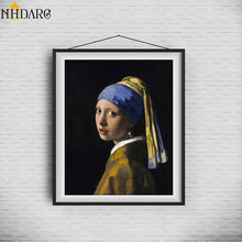 Girl With A Pearl Earring By Johannes Vermeer Wall Art Canvas Poster and Print Canvas Painting Decorative Picture for Home Decor vermeer in detail