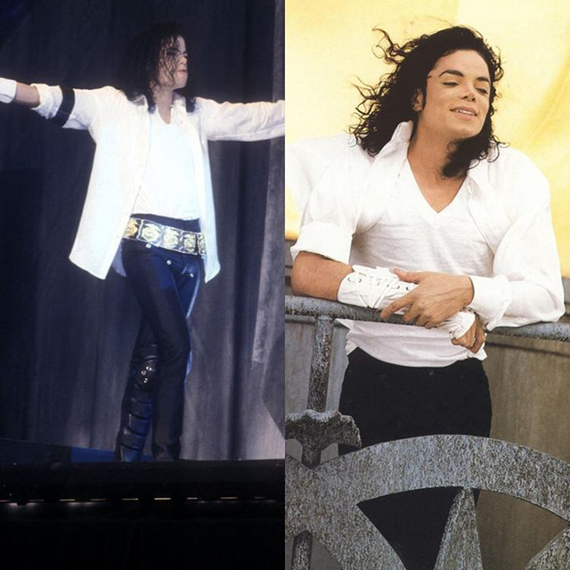 Memoria de Michael Jackson MJ Clásico Blanco y Negro Punk Armbrace EE. UU. Estrella de la Música Regalo de Halloween Espectáculo de Imitación Camisa Fresca