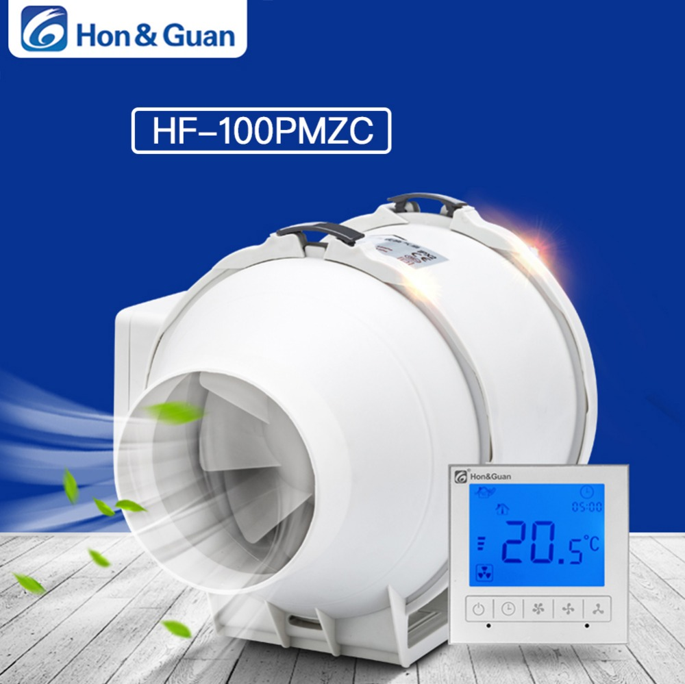 Hon Guan 4 Inch HF 100PMZC Timer Extractor Inline Duct Fan with Smart Switch 220 240V