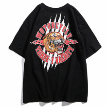 THREE-Y 2019 Mens Streetwear Hip Hop T-Shirt Premium Casual Tees Male Short Sleeve Tops Tiger Printed For Summer Unisex