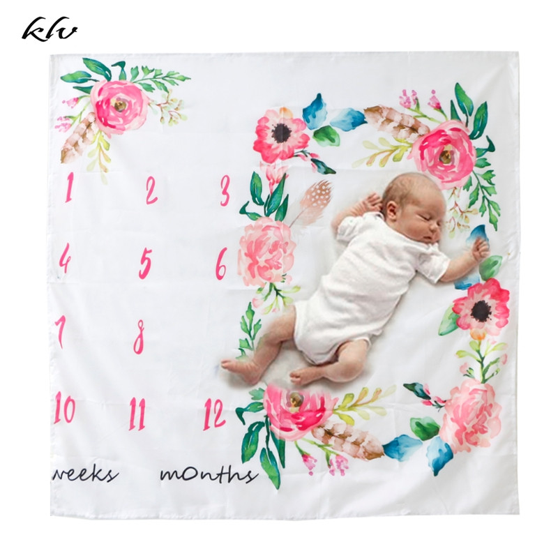 Newborn Baby Watercolor Floral Photography Prop Background Cloth Milestone Blanket Newborns Swaddle Stroller Bedding Wrap