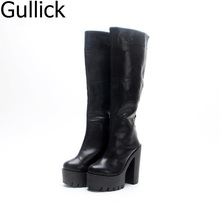 купить Solid Black Autumn Spring Back Zipper Round Toe Flatform Rain Boot Casual Hoof Heel Ankle Ride Boots Women Free Ship Botas Mujer дешево