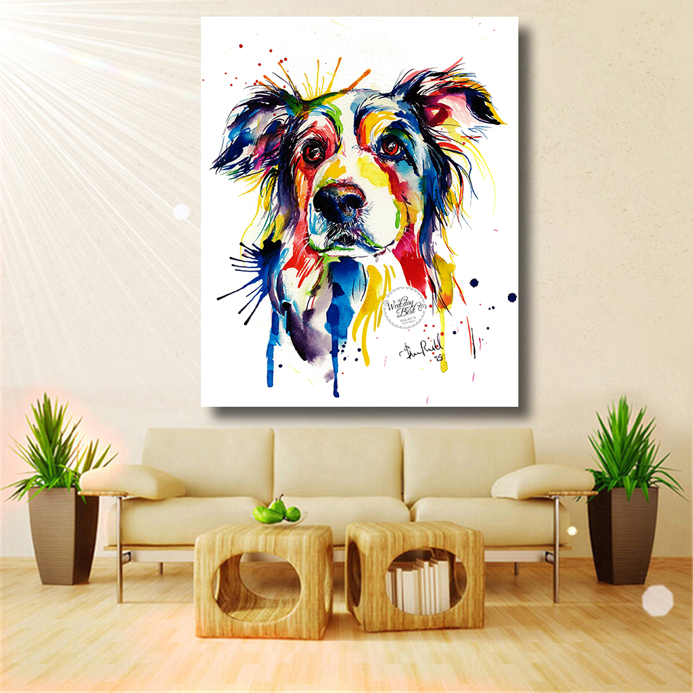 HDARTISAN Home Printed Modern Colorful Dog Decorative ...