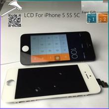 De calidad superior AAA Pantalla LCD No lugar Con Panel de la Pantalla Táctil asamblea digitalizador + regalo libre para iphone 5 5g 5c 5s