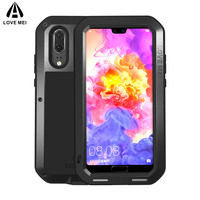LOVE MEI Metal Shockproof Case For Huawei P20 P20 Pro Cover Aluminum Armor Waterproof Case For