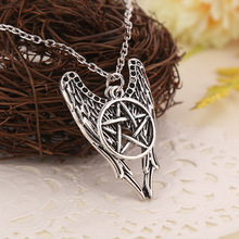 Europe United States Hot Selling Jewelry Evil Power Supernature Ancient Silver Five Star Angel Wing Amulet Spirits Necklace