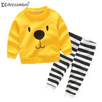 2017 New Baby Boy Clothing Set Baby Suit Letter Long Sleeved Romper Pants Hat 3pcs Newborn
