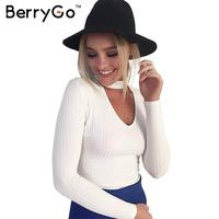 BerryGo Autumn Winter Black Halter Knitted Sweater White Sexy Pullover Women Tops Slim V Neck Long