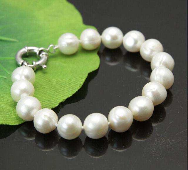 """Venda quente >@@ Hot New 10-11mm branco akoya água doce pérola pulseira 7.5 """"-Noiva jóias livre grátis"""