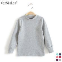 2017 Automne Enfants Basant les Chemises Thermique Sous-Vêtements À Manches Longues Col Rond Coton Épais Garçons de Filles T-shirt Enfants Tops