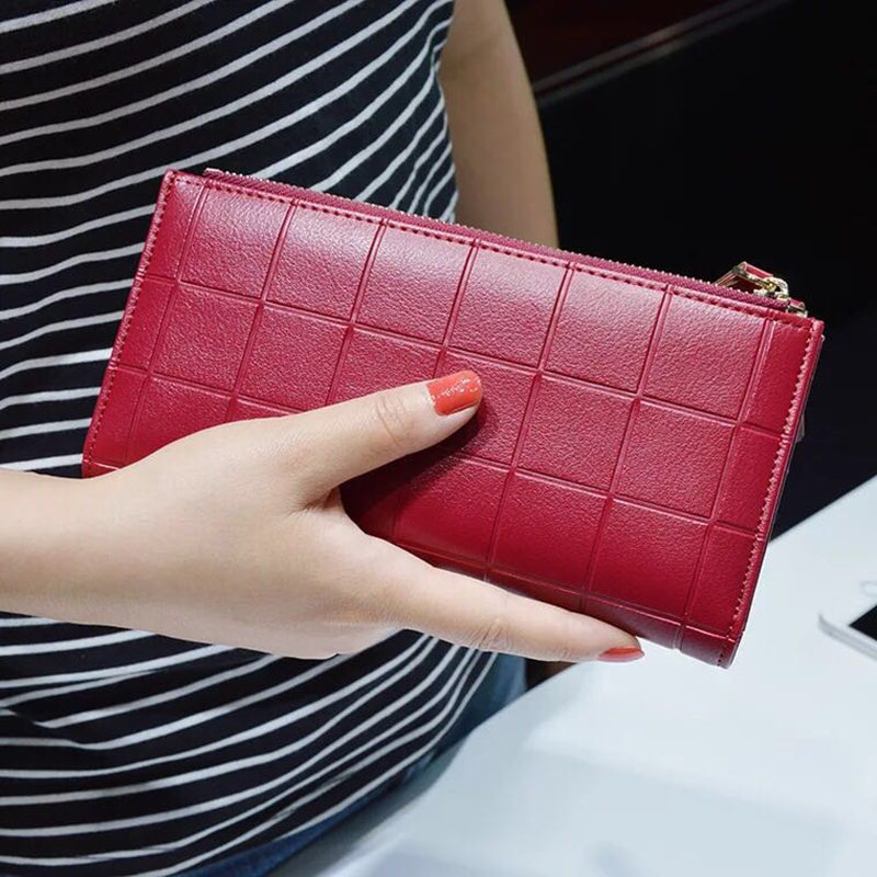 New women Leather Purse Plaid Wallets Long Ladies Colorful Walet Red Clutch 10 Card Holder Coin Bag Female Double Zipper Wallet simline fashion genuine leather real cowhide women lady short slim wallet wallets purse card holder zipper coin pocket ladies