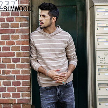 Striped Hooded Slim Fit Cotton Sweater