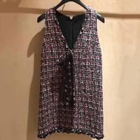 Women Tweed Dress Summer V neck Lady Elegant Sleeveless Dress Women 2019 Fashion New Women Straight Mini Dress