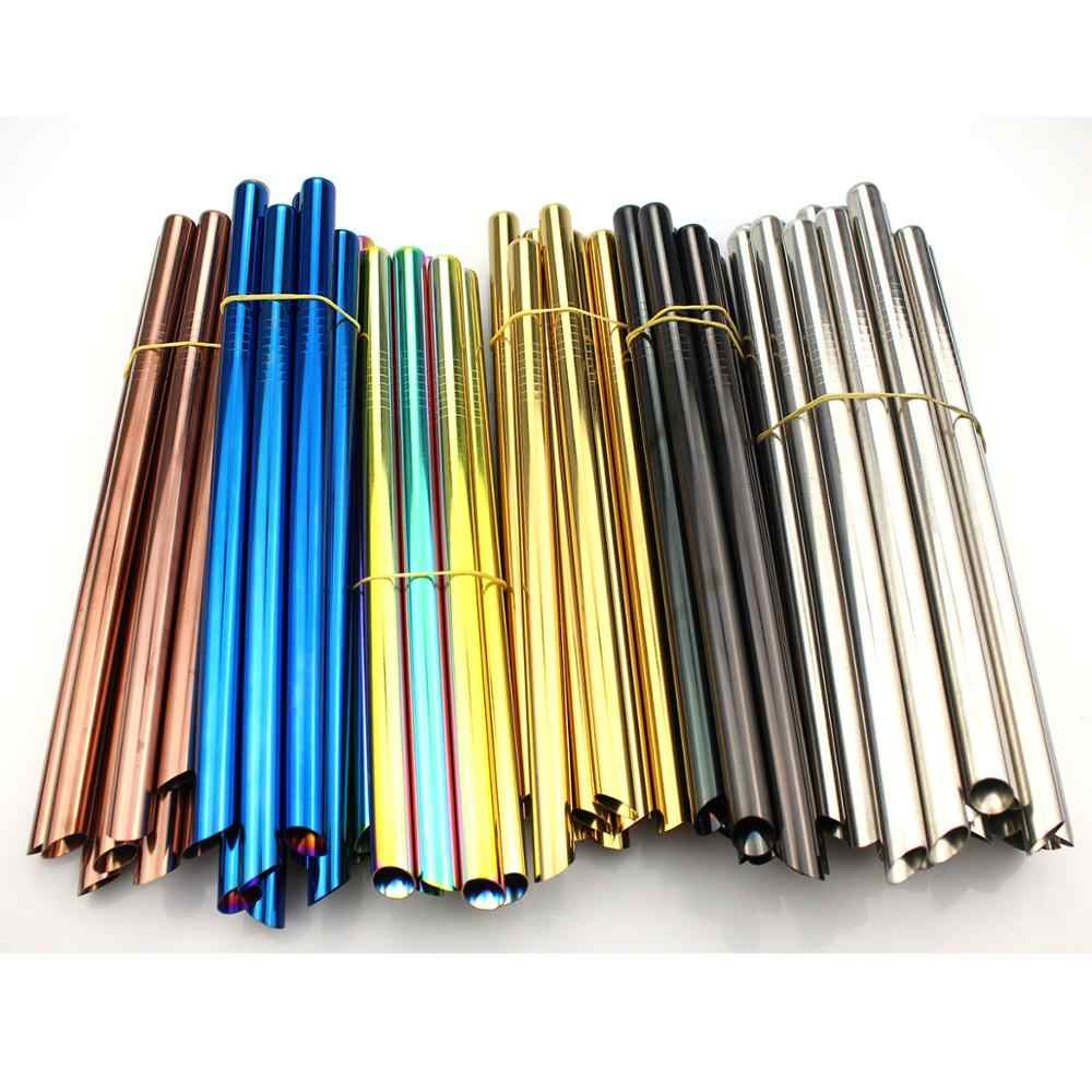 2pcs Reusable Wide Metal Drinking Straws 12mm Straight Drinks Straw Pointed Tips Drink Pearl Milkshake Bubble Tea Straw