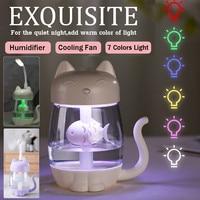 3 em 1 350ml usb gato umidificador de ar ultra-sônico fresco-névoa adorável mini umidificador com luz led mini ventilador usb para escritório em casa