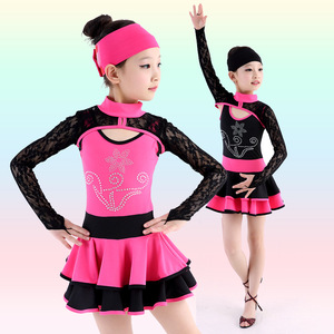 Child Professional Latin Dance Dress Practice/Competition Dance Dress for Girl Sexy Lace Long Sleeve Ballroom Dancerwear 89