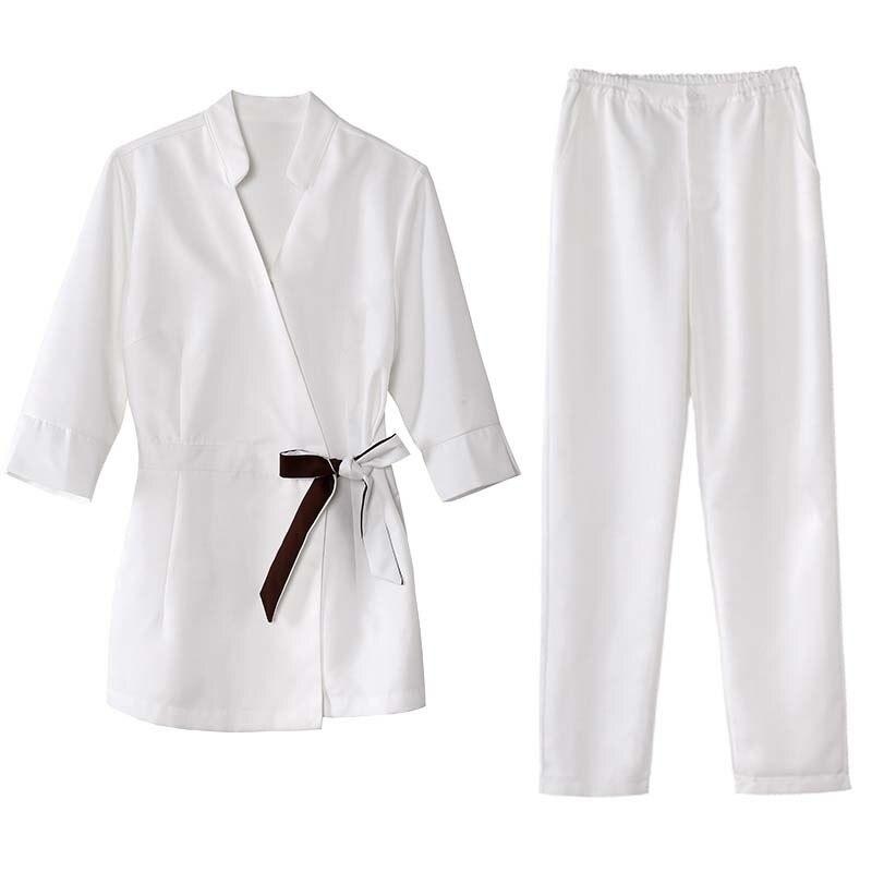Women's Fashion Medcial Uniforms Spa Club Beautician Suit Half Sleeve Top + Pants / Nursing Uniform Scrubs/Nurse Scrub Uniform