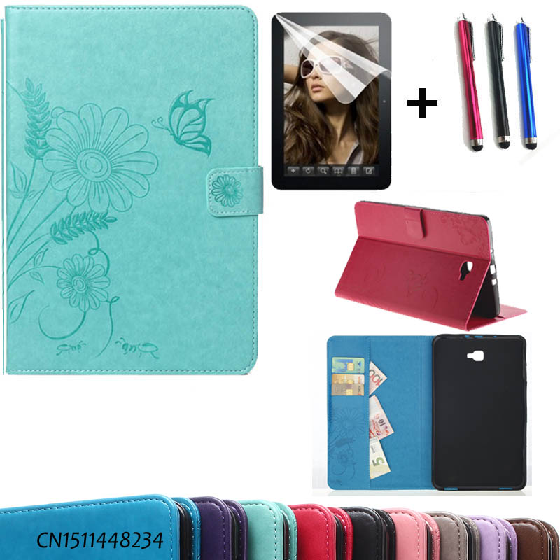 pen+film+ luxury cases For Samsung Galaxy Tab A A6 10.1 Tablet case fashion PU Leather For Samsung T580 T585 T580N smart cover case cover for goclever quantum 1010 lite 10 1 inch universal pu leather for new ipad 9 7 2017 cases center film pen kf492a
