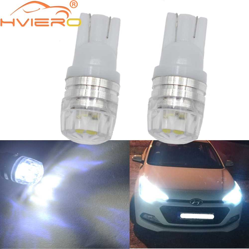 2X Led White 194 168 158  Parking Bulb Auto Wedge Turn Signal Lamp Tail Lamp Side Marker Bulb Backup Light DC 12v