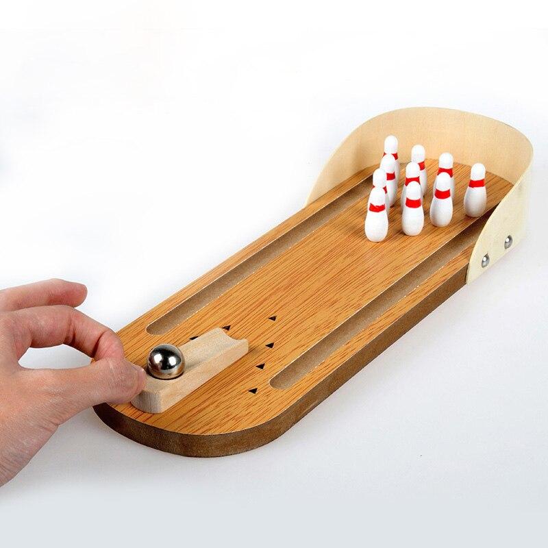 Mini Wooden Desktop Bowling Game Kids Children Toy Gift Decor Baby House Entertainment Toys @Z401