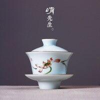 Jingdezhen traditional hand painted green glaze lotus bowl Shadow green retro painting three talent bowl pure handmade Tea Set