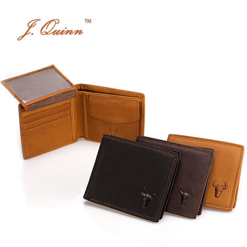 J.Quinn Bifold Male Coin Walet Thin Purse with Card ID Flap Leather Wallet Genuine Cowhide Small Short Mens Wallets Causal New