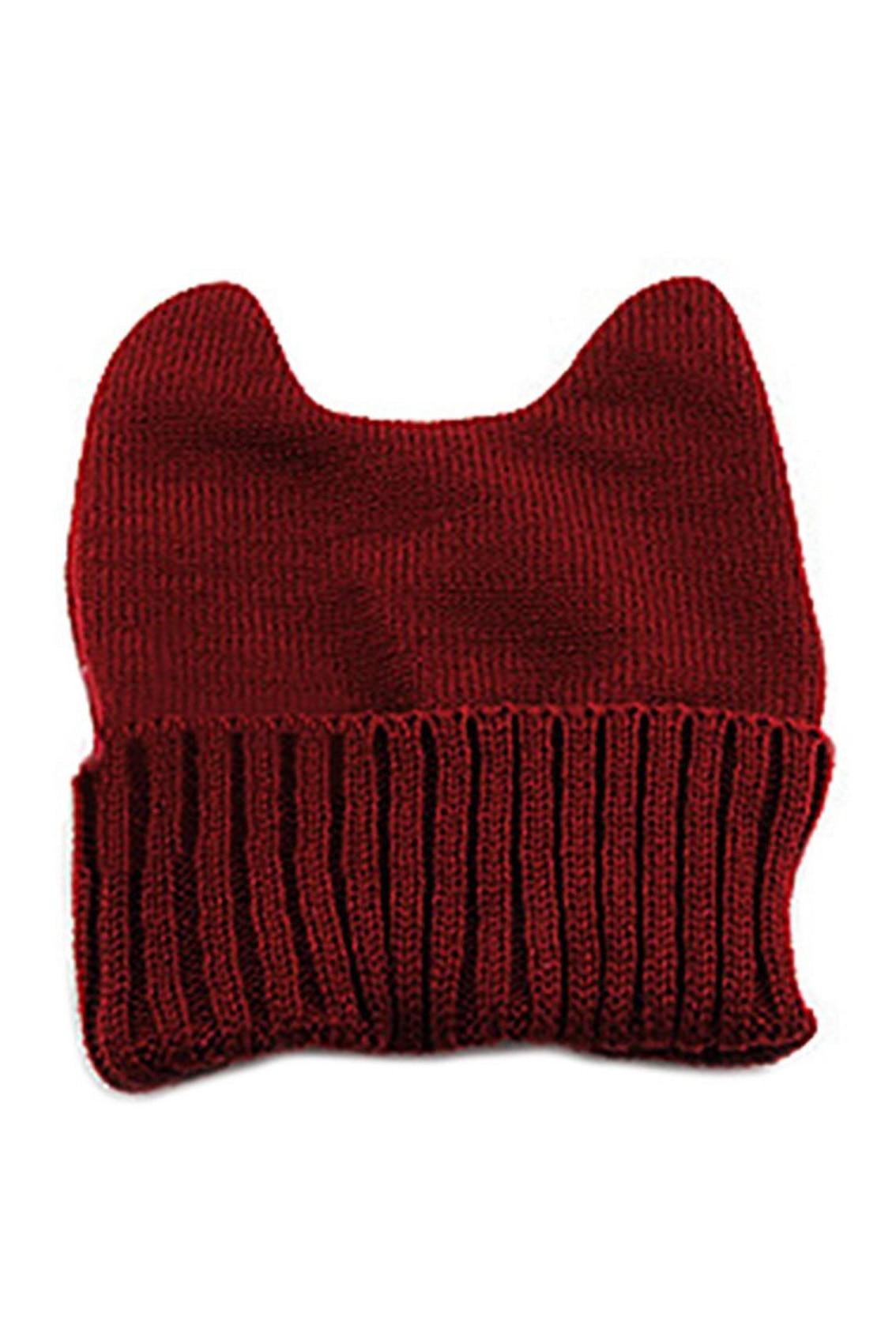 SAF-Women's Warm Winter Cat Ear Shape Knitted Hat Claret