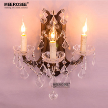 New Design 3 Lights Crystal Wall Lamp Rust Color Wall Sconces Lamp Lustre Wall Brackets Lighting Bedroom Free Shipping цена и фото