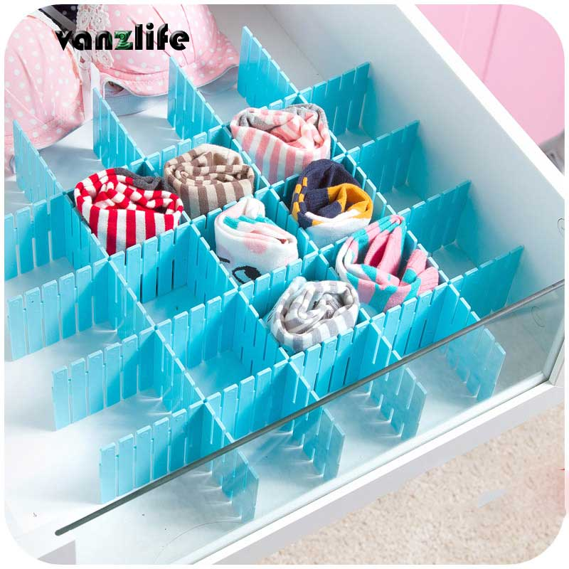 Vanzlife DIY Thickened Storage Partitions 4 Slices Drawer Divider Plate Organizing Partition Storage Box Bra Underwear Organizer