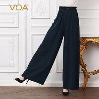 VOA тяжелый шелк Высокая Талия офисные Широкие штаны для женщин; Большие размеры свободные 5XL брюк Повседневное длинное однотонное Темно син