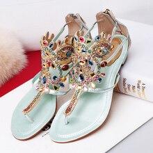 Frauen Aus Echtem Leder t-riemen Strass Wohnungen Sandalen Marke Designer Böhmen Stil Strand Sommer Sandalen Schuhe für Frauen heißer