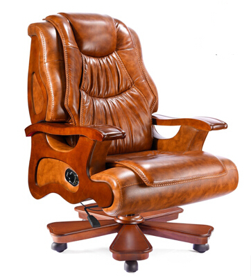 Leather Chairs Leather Chair Wood Office Chair, President Chair Reclining Massage Chair Lift Computer