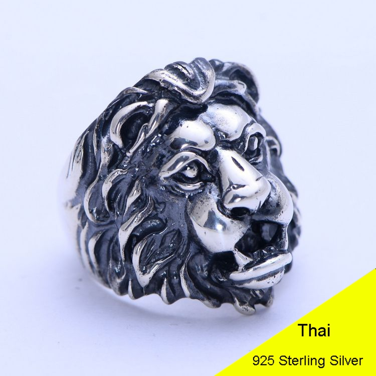 Genuine 925 Sterling Silver Retro Men Male Animal Lion Head Ring Thai Silver Fine Jewelry Gift Finger Ring CH056063 100% genuine 925 sterling silver retro men male ring thai silver fine jewelry gift snake cross heavy finger ring ch057436