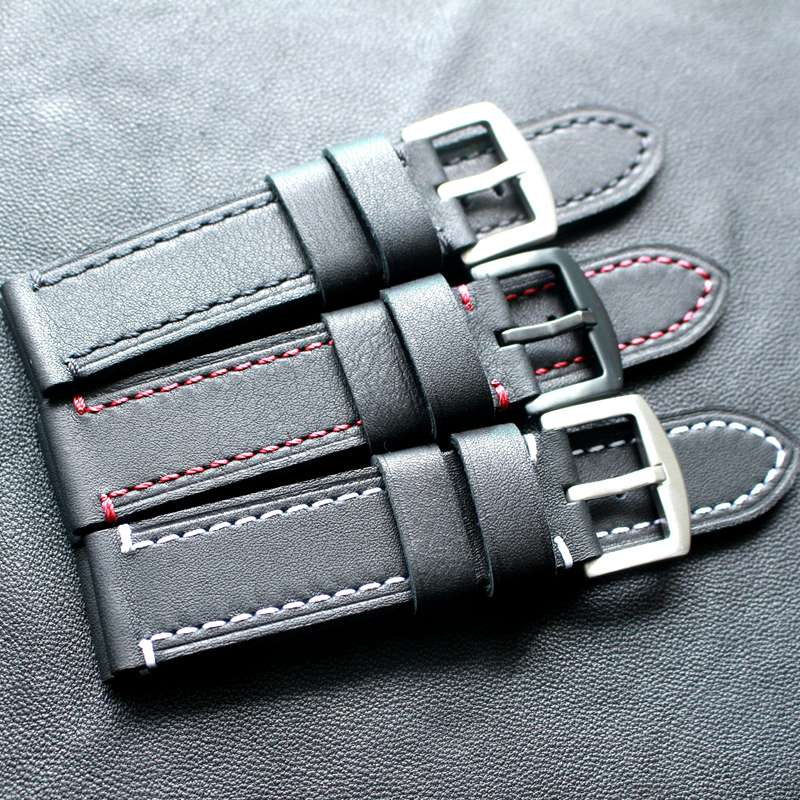 Image 2 - TOTOY Black Red Stitch Leather Strap 18MM 19MM 20MM 21MM 22MM Black Stitch Black Leather Watch Strap Trimming Process Bracelet-in Watchbands from Watches