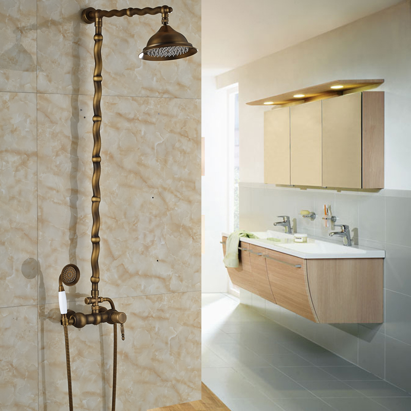 Twisted Pipe Design Brass Antique Exposed Shower Faucet Wall ...