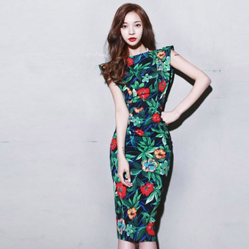 2019 Summer Plus Size Vintage Bandage Bodycon Pencil Dress Women Green Print Sleeveless Party Dress Casual Office Lady Dresses