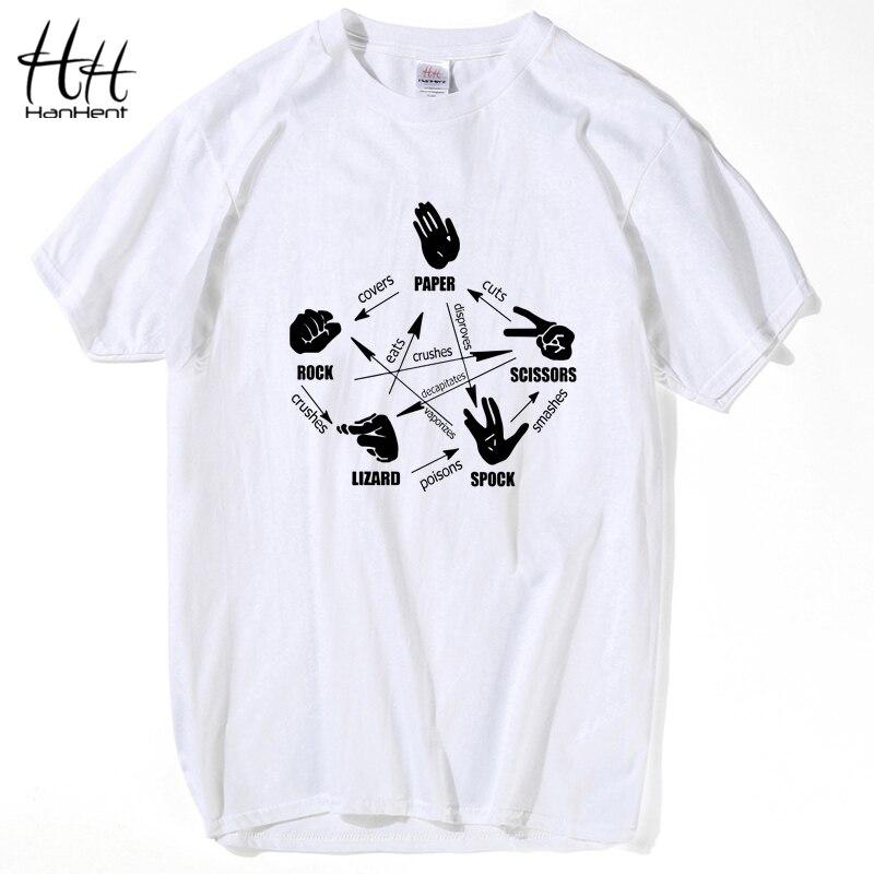 Hanhent The Big Bang Theory Men T Shirt Rock Paper Scissors Lizard Spock Sheldon Cooper Tops Short Sleeve Crossfit T-shirt