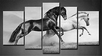 5 Panel Wall Art Painting Black And White Horses Prints On Canvas Animal Decor Oil For