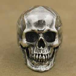 LINSION 925 Sterling Silver High Detail Skull Ring Mens Biker Punk Ring TA50 US Size 7~15